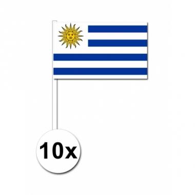 Zwaaivlaggetjes uruguay 10 stuks