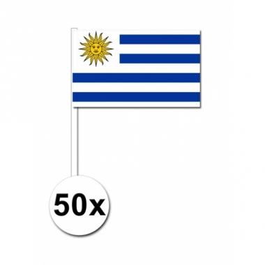 Zwaaivlaggetjes uruguay 50 stuks