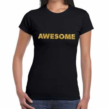 Zwart awesome goud fun t-shirt voor dames