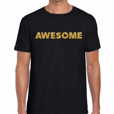 Zwart awesome goud fun t-shirt voor heren
