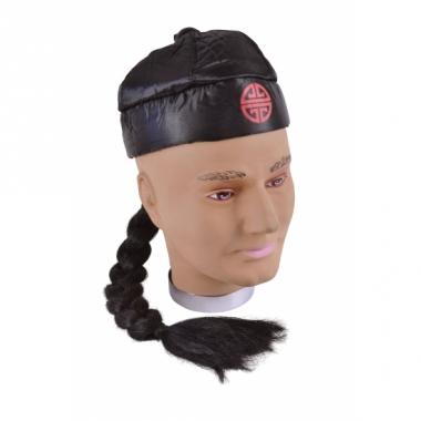 Zwart aziatisch hoedje met vlecht