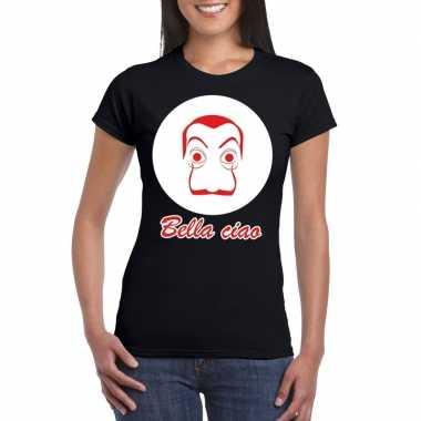 Zwart bankovervaller t-shirt voor dames