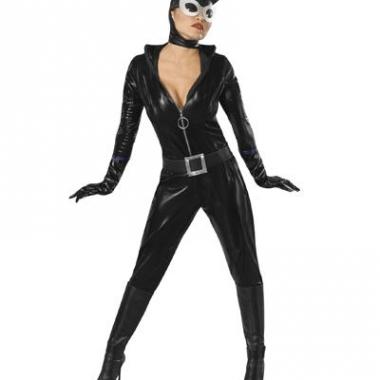 Zwart catwoman kostuum lederlook