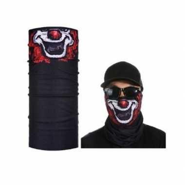 Zwart clown helm biker masker voor volwassennen