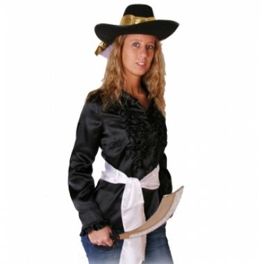 Zwart dames piraten overhemd