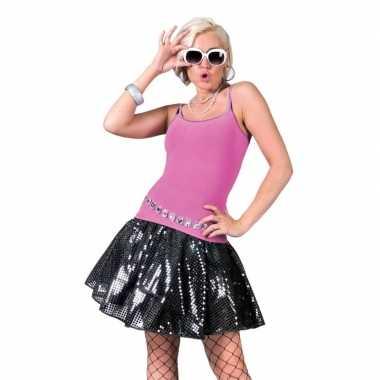 Zwart disco jaren 70 rokje voor dames