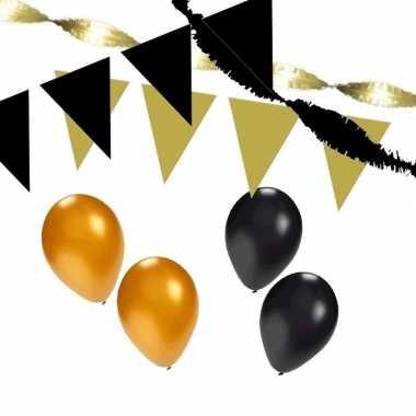 Zwart en goud feestartikelen decoratie pakket huiskamer