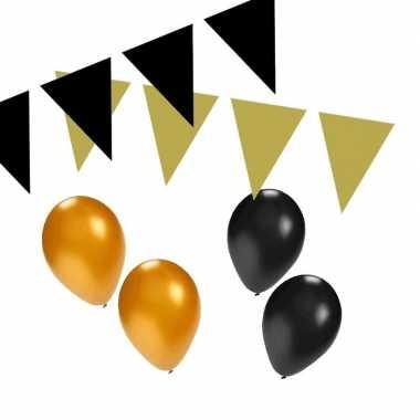Zwart en goud feestartikelen decoratie pakket small