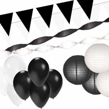 Zwart en wit feestartikelen decoratie pakket xxl