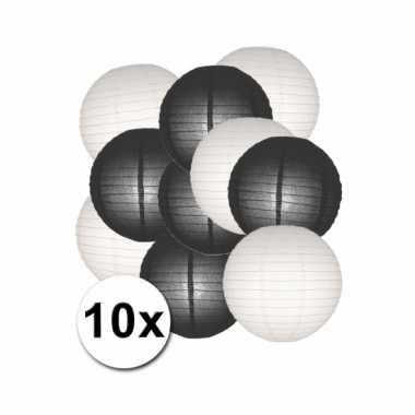 Zwart en wit lampionnen pakket 10x