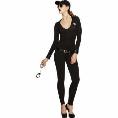 Zwart fbi kostuum voor dames