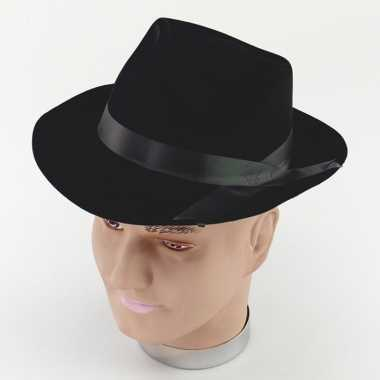 Zwart fedora model hoedje voor volwassenen