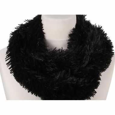 Zwart fleece ronde col sjaal 80 cm voor volwassenen