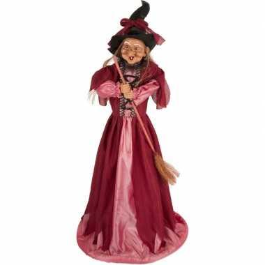 Zwart/fuchsia roze staande heksen halloween decoratie pop/figuur 70 c