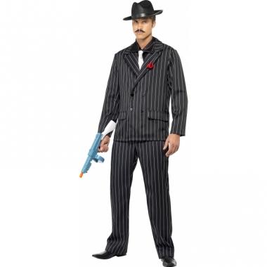 Zwart gangster kostuum heren