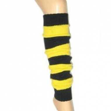 Zwart gele beenwarmers