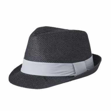 Zwart gevlochten hoedje met grijze band