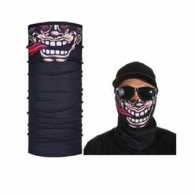 Zwart grappig/funny gezicht helm biker masker voor volwassennen