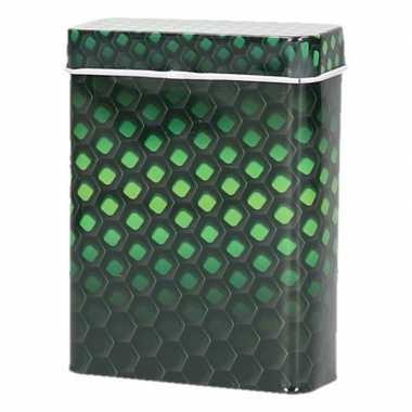 Zwart/groene metalen sigaretten blikjes
