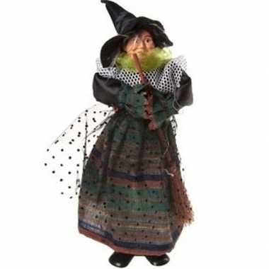 Zwart/groene staande heksen halloween decoratie pop/figuur 25 cm
