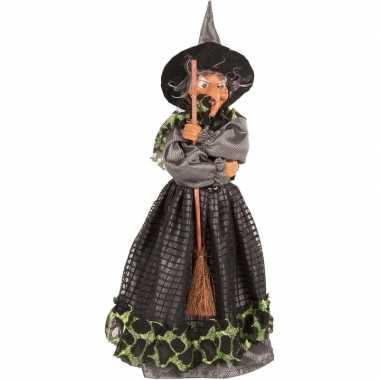 Zwart/groene staande heksen halloween decoratie pop/figuur 40 cm