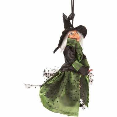 Zwart/groene vliegende heksen halloween decoratie pop/figuur 25 cm
