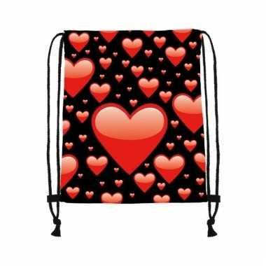 Zwart gymtasje met rode harten