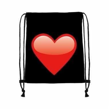 Zwart gymtasje met rood hart