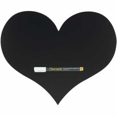Zwart hart krijtbord/schoolbord met 1 stift 30 x 36 cm