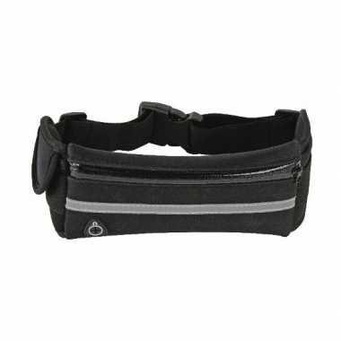 Zwart heuptasje met mobiel vakje 36 cm