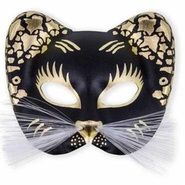 Zwart katten oogmasker kunstof