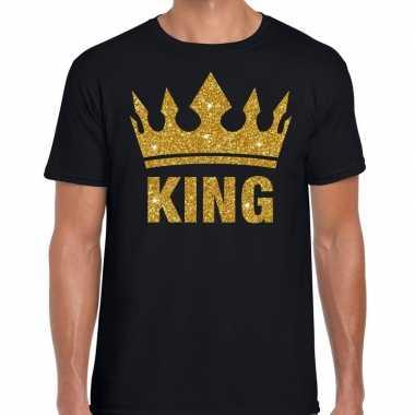 Zwart king gouden glitter kroon t-shirt heren