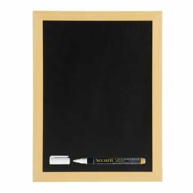 Zwart krijtbord/schoolbord met 1 stift 40 x 60 cm