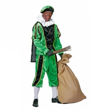Zwart met groen zwarte piet kostuum