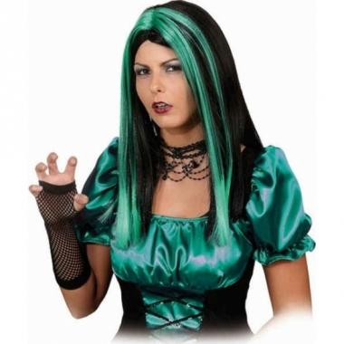 Zwart met groene heksenpruik