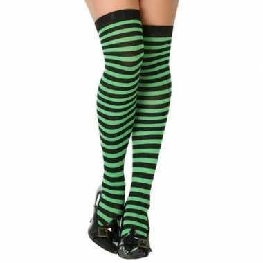 Zwart met groene verkleed kousen voor dames