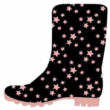 Zwart met roze sterretjes kleuter regenlaarzen voor jongens/meisjes/k