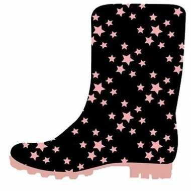 Zwart met roze sterretjes peuter regenlaarzen voor jongens/meisjes/ki