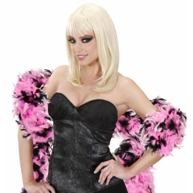 Zwart met roze veren boa 180 cm