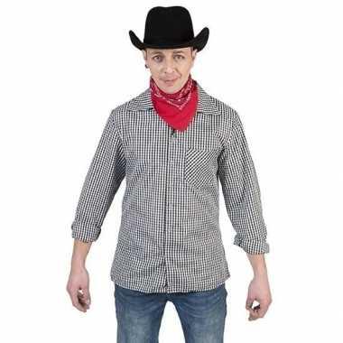Zwart met wit geruit cowboy overhemd voor heren