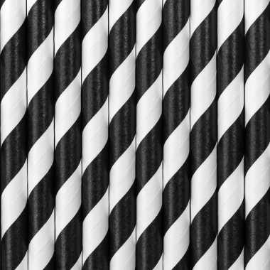Zwart met witte decoratie rietjes van papier 30 stuks