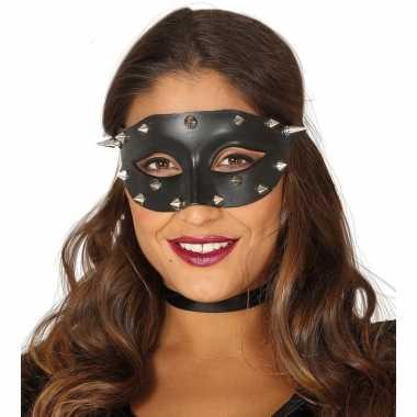 Zwart mysterieus oogmasker met spikes voor dames