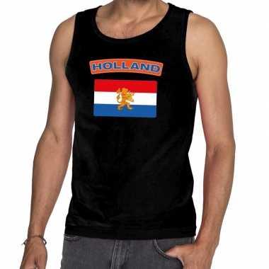 Zwart nederlandse vlag holland tanktop heren