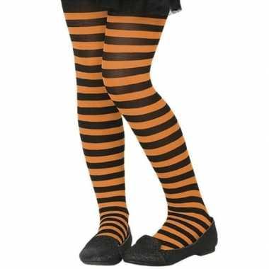 Zwart/oranje 40 denier verkleed panty voor kinderen
