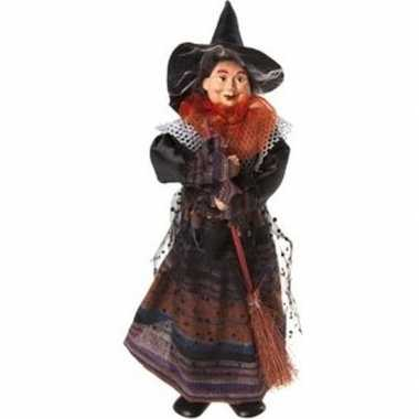 Zwart/oranje staande heksen halloween decoratie pop/figuur 25 cm