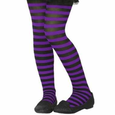 Zwart/paarse 40 denier verkleed panty voor kinderen