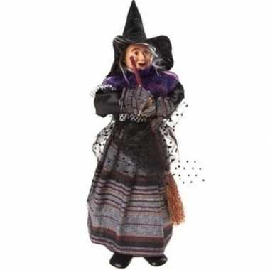 Zwart/paarse staande heksen halloween decoratie pop/figuur 25 cm