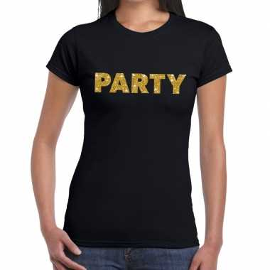 Zwart party goud fun t-shirt voor dames