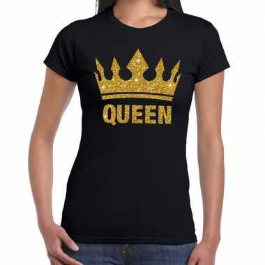 Zwart queen met gouden kroon t-shirt dames