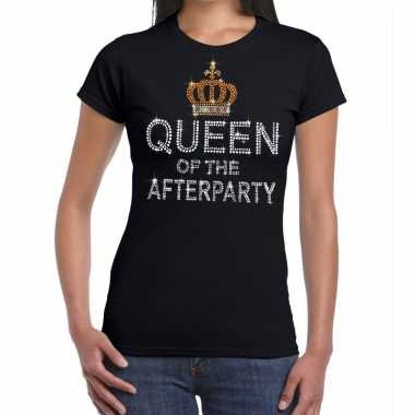 Zwart queen of the afterparty glitter steentjes t-shirt dames